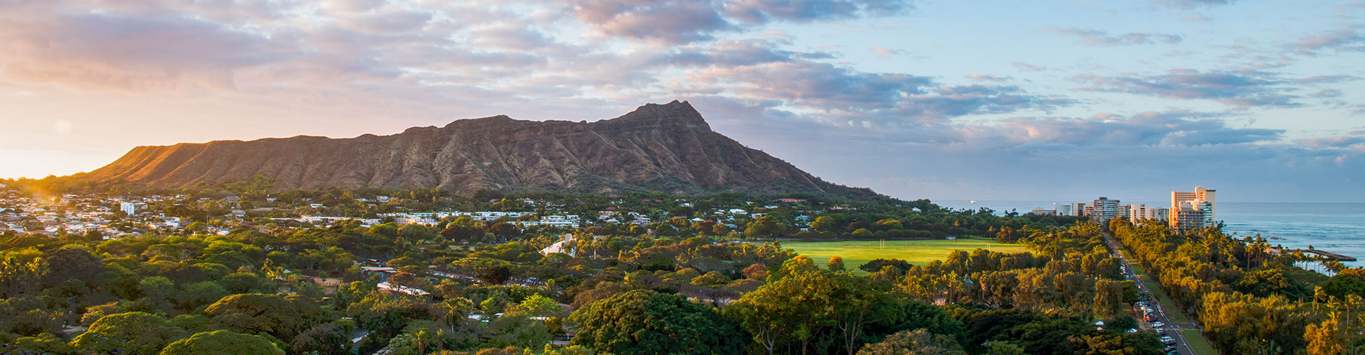 Diamond Head with houses at the bottom